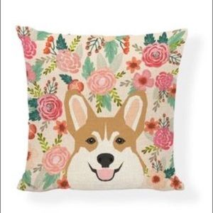 NWT 3 items: Corgi pillow cover/keychain/necklace